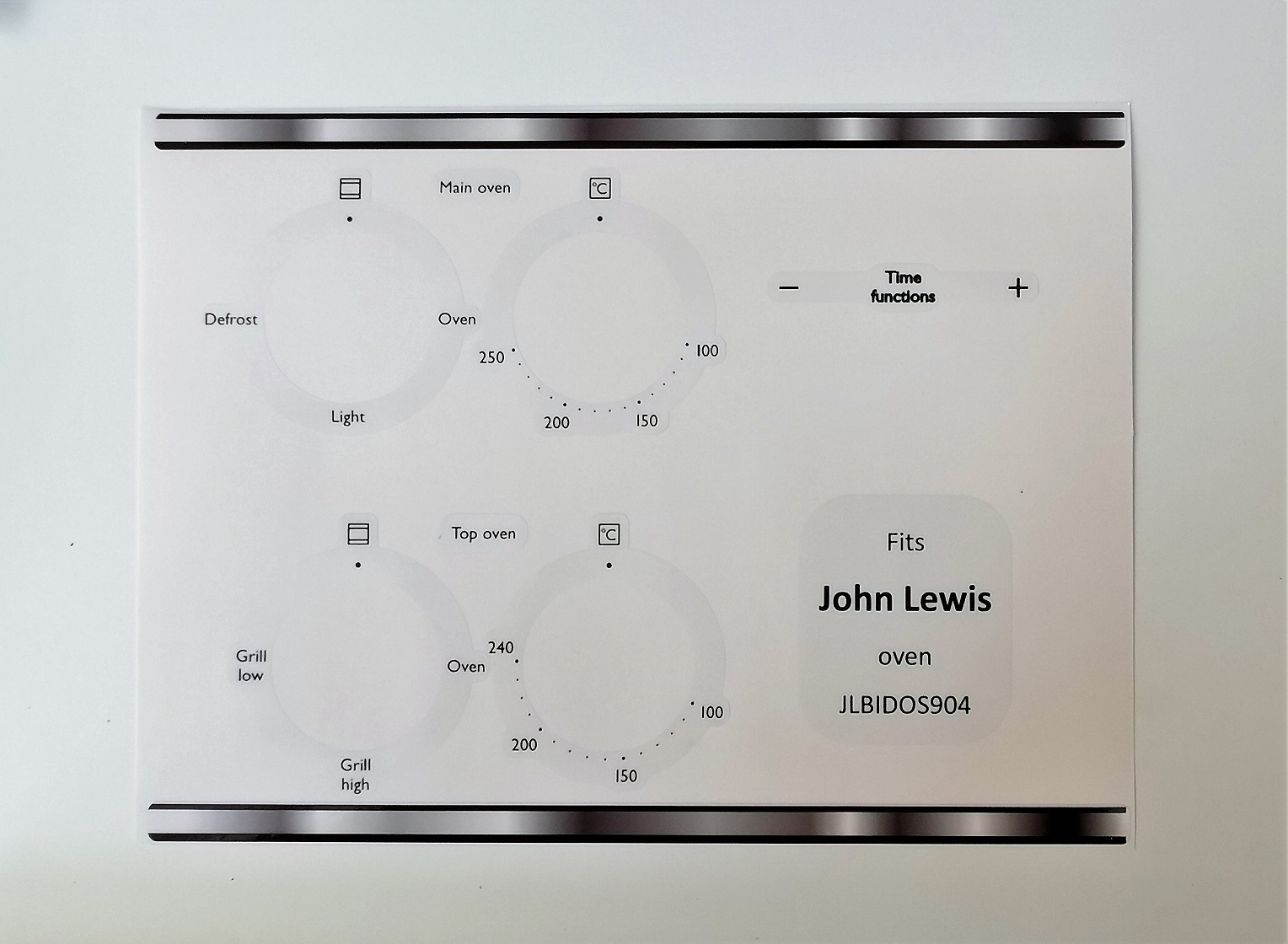 John Lewis JLBIDOS904 Compatible fascia sticker set.