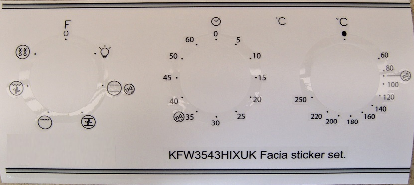 Indesit KFW3543HIXUK compatible front panel decal stickers.