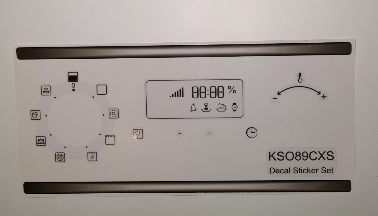 Hotpoint Oven KSO89CXS compatible panel fascia sticker set.