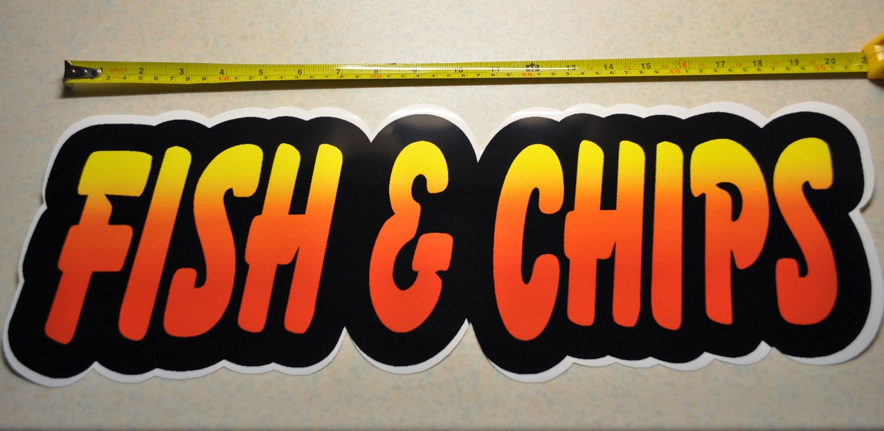 2 x Extra Large 20x7 inch fish&chips stickers for catering, burg