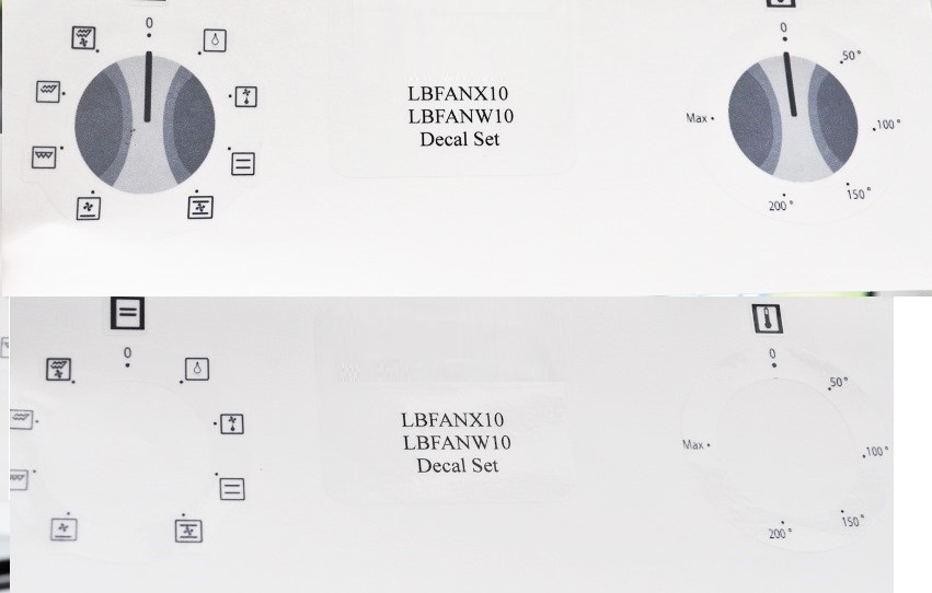 Logik LBFANX10, LBFANW10 compatible panel fascia sticker set.