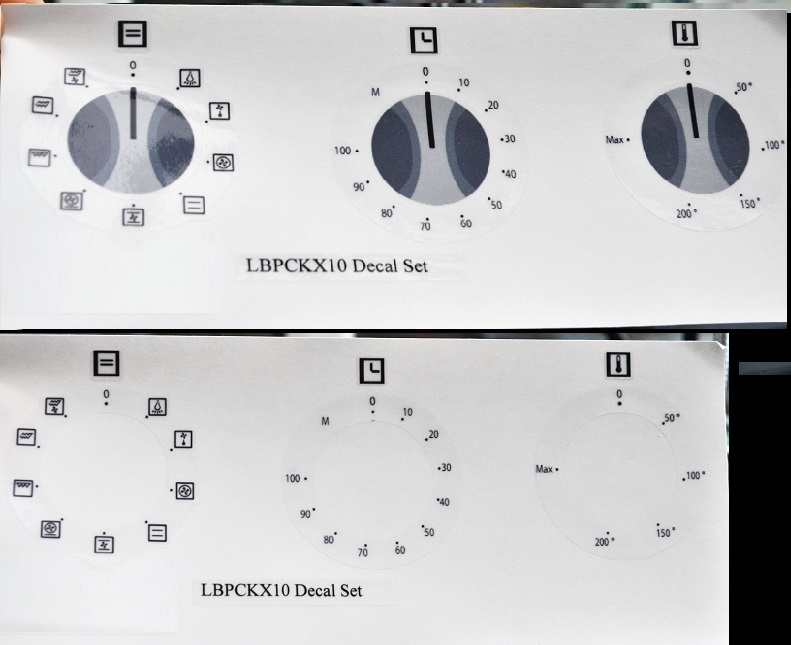 Logik Oven LBPCKX10 compatible panel fascia sticker set.