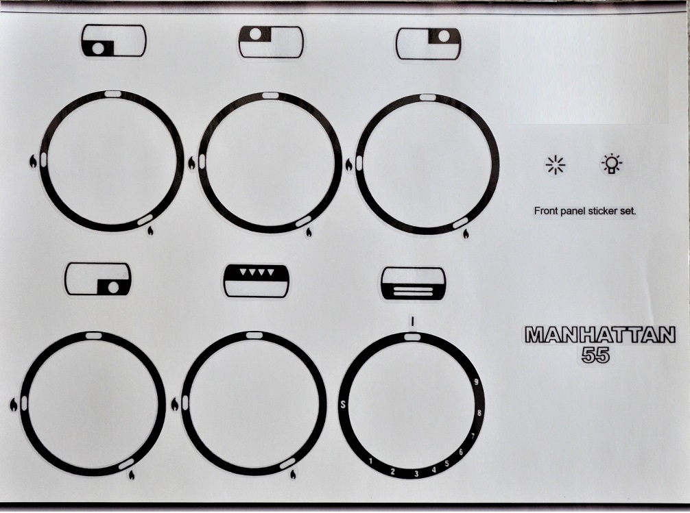 Rangemaster Manhattan 55 cooker compatible panel fascia stickers