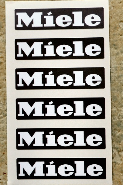 Miele emblem decal sticker labels x 6 in black