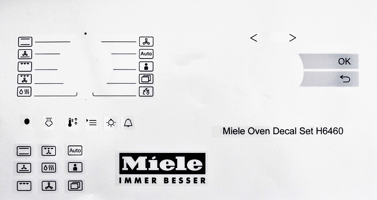 Miele oven facia. decal, stickers H6460, clear vinyl may suit ot