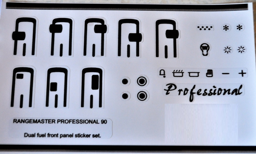 Rangemaster 90 professional, dual fuel compatible panel stickers