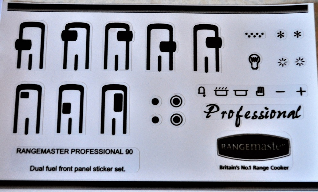 Rangemaster 90 professional dual fuel fascia panel stickers