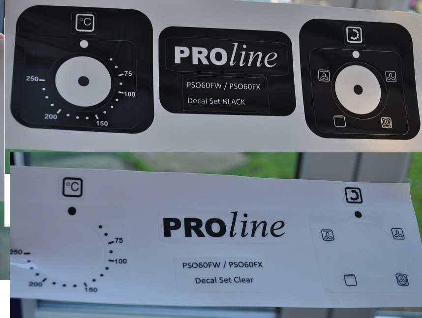 Proline PSO60FW / PSO60FX oven decal sticker set, may fit others