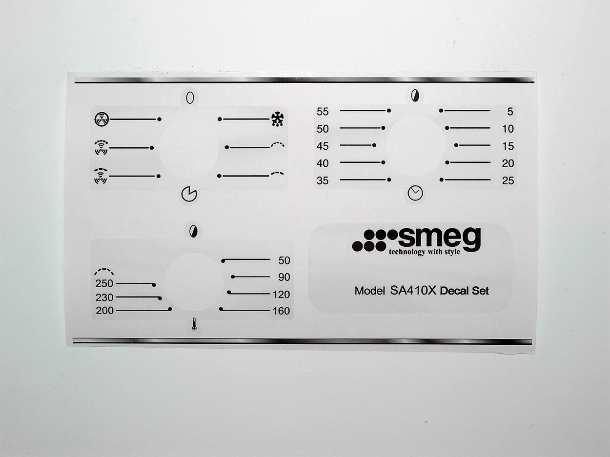 Smeg SA410X fascia stickers for worn fronts.