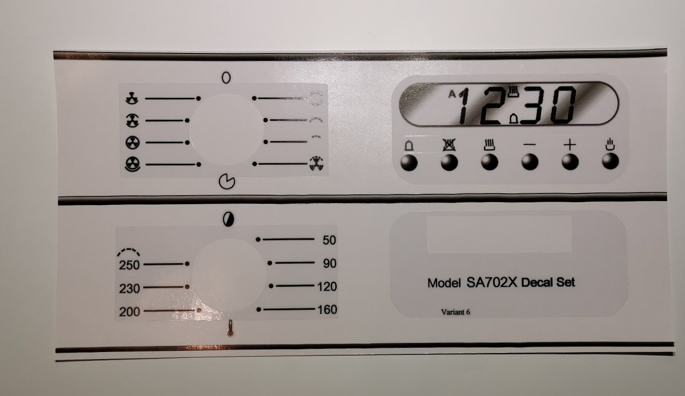 Smeg SA702X variant 6 compatible panel fascia sticker set.