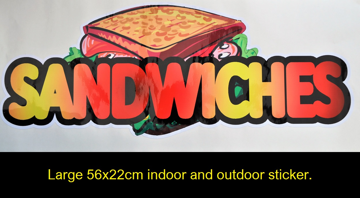 Large 56xx22cm Sandwiches sticker for indoor and outdoor usage.