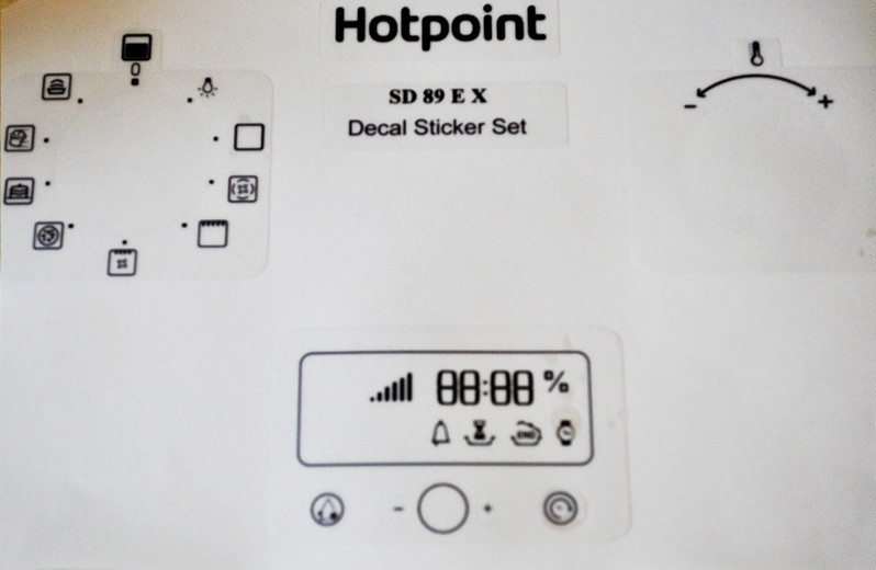 Hotpoint Oven SD 89 E X decal sticker set for worn fronts.