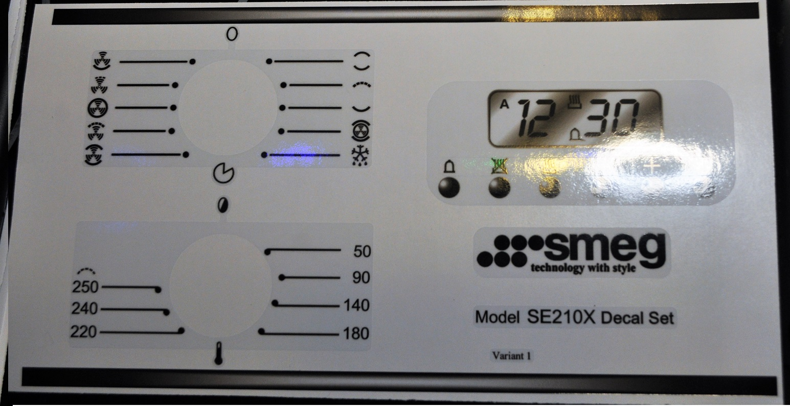Smeg SE210X variant 1 decal sticker set.