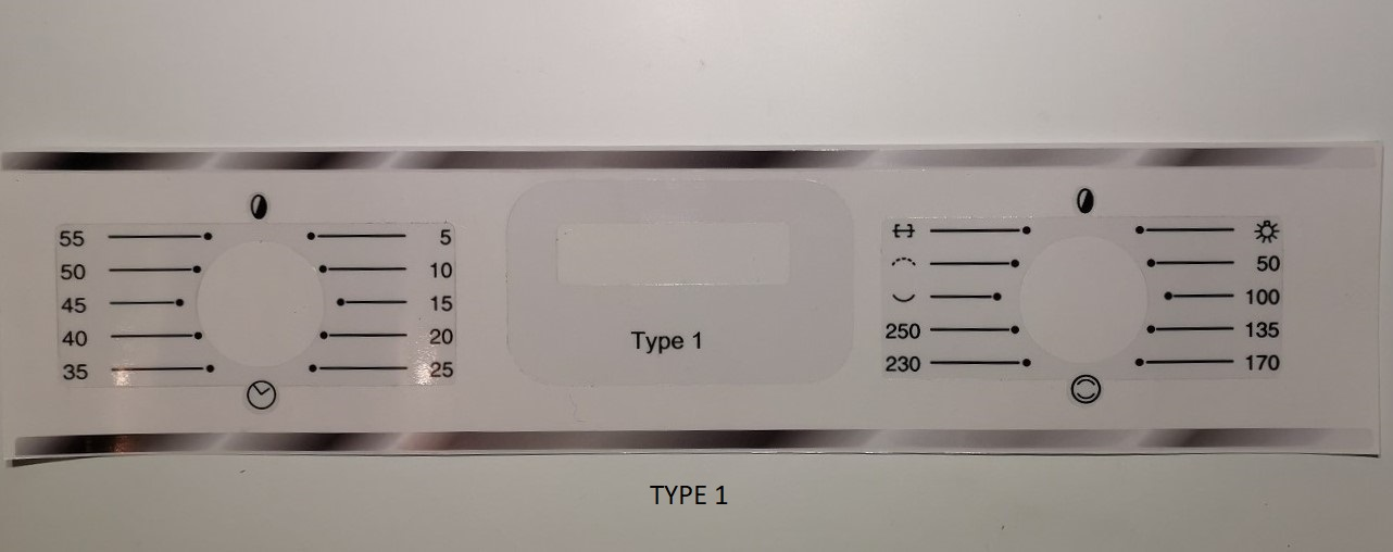 Smeg integrated oven decals SE336SS, AP361, SE378MFX, SE240X +