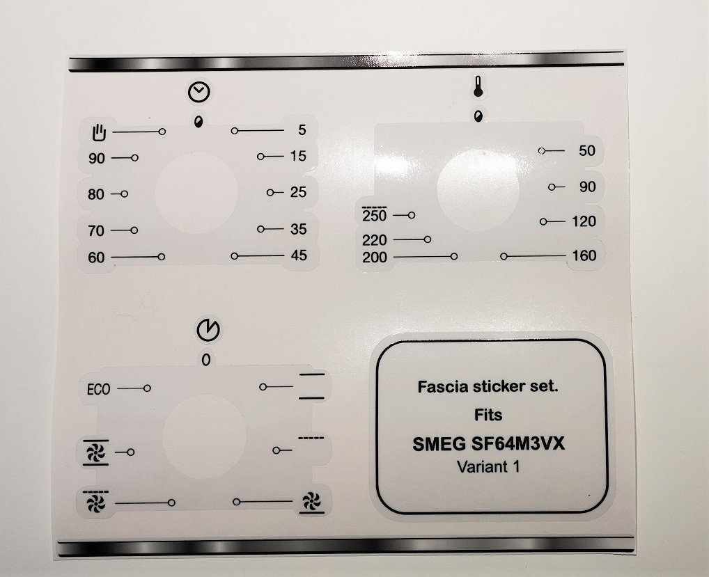 Smeg SF64M3VX compatible fascia sticker set, variants see images
