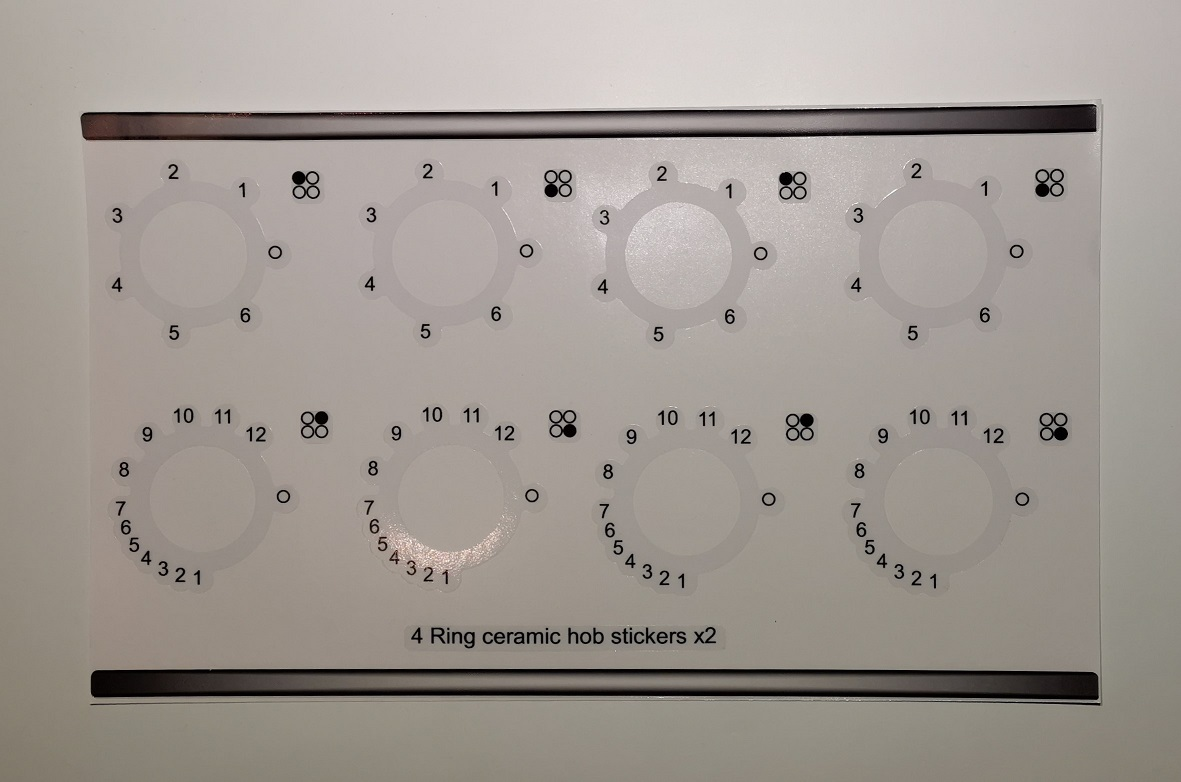 Smeg 4 ring ceramic hob compatible panel fascia sticker set.
