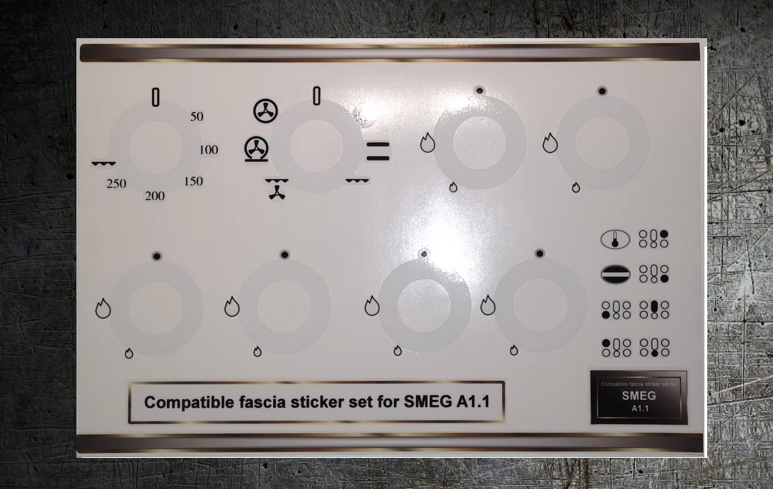Smeg A1.1 compatible panel fascia sticker set, analogue clock.