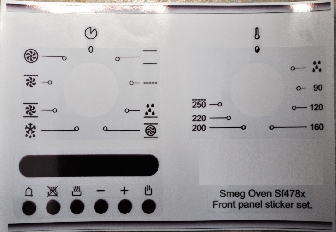 Smeg Oven SF478X compatible panel fascia sticker set.