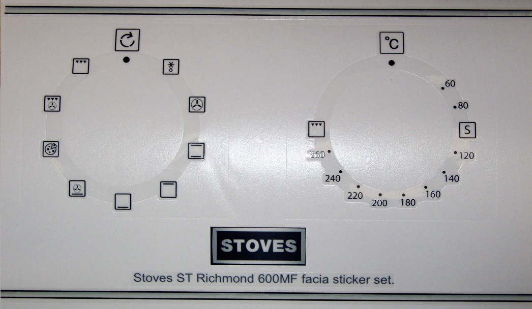 Stoves ST Richmond 600MF facia sticker set.