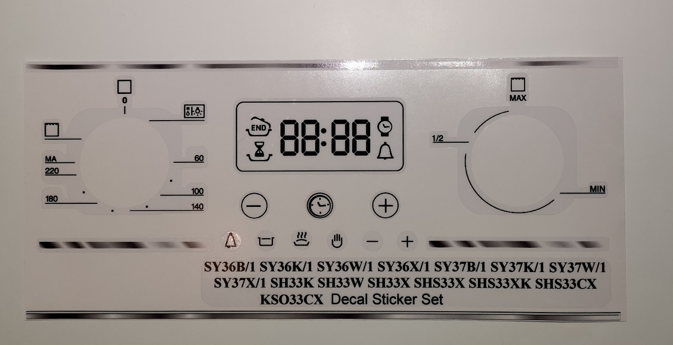 Hotpoint SY36, SY37, SH33, SHS33, KSO33CX decal sticker set.