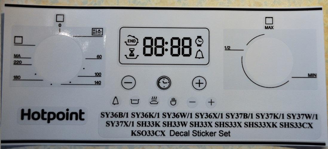 Hotpoint Sy36 Sy37 Sh33 Shs33 Kso33cx Decal Sticker