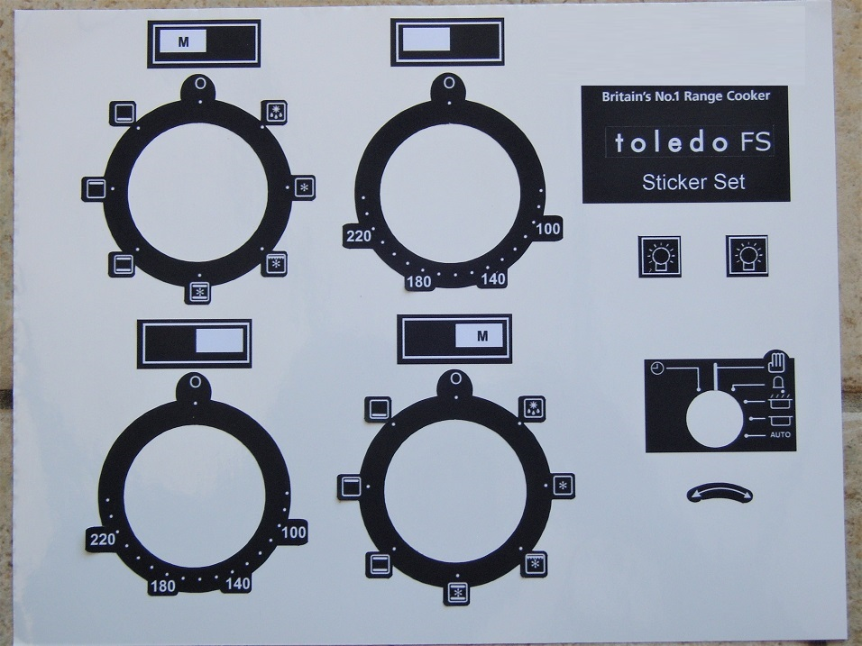 Rangemaster Toledo FS Electric oven fascia sticker set in black.