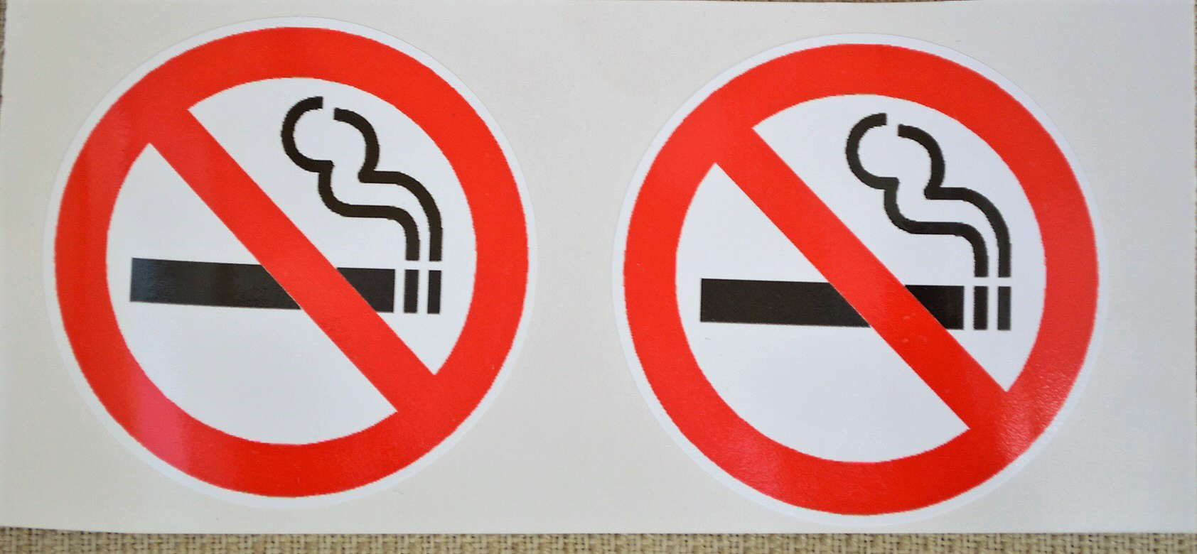 2 x 80mm No Smoking internal or external solvent print vinyl.