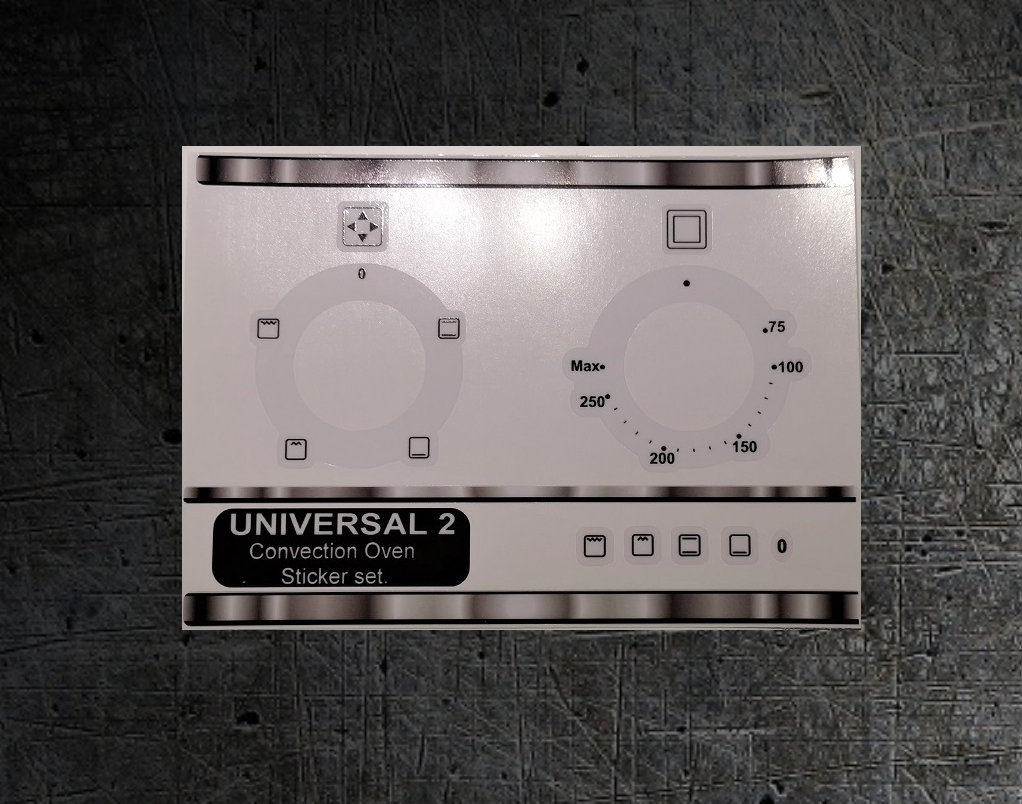 Universal 2 convection oven decal sticker set.