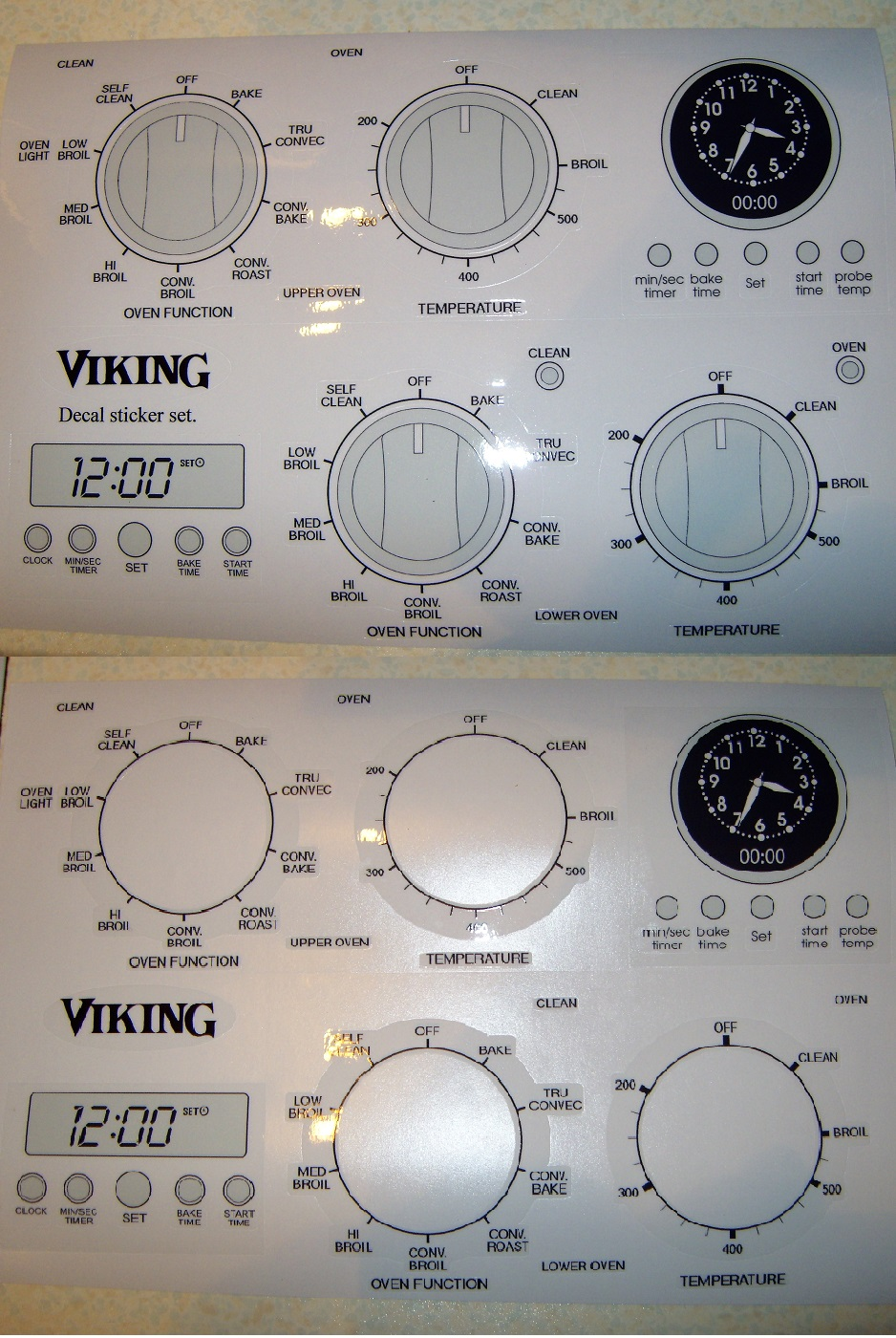 Viking single and double oven decal set, fits many.