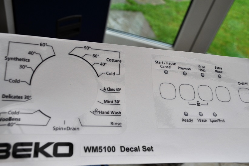Beko WM5100 W/S decal sticker set for worn front panel.