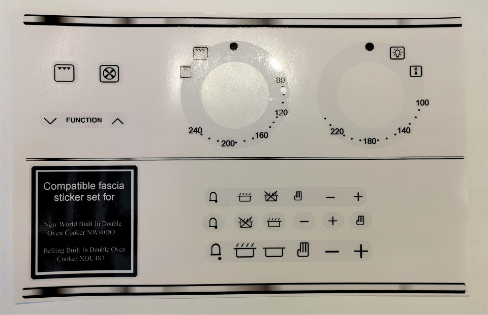 New World NW90DO oven compatible decal stickers for worn fascia